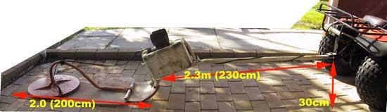 """Катушка CoilTek 40x20"""" установленная на листе пластика для транспортировке квадрациклом. Фото с сайта www.minelabmods.com"""